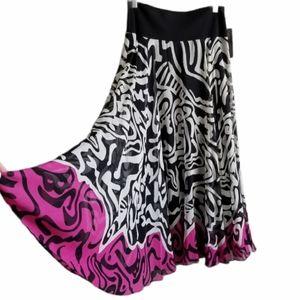 ANNE KLEIN Silk Maxi Skirt NWT Black White Pink